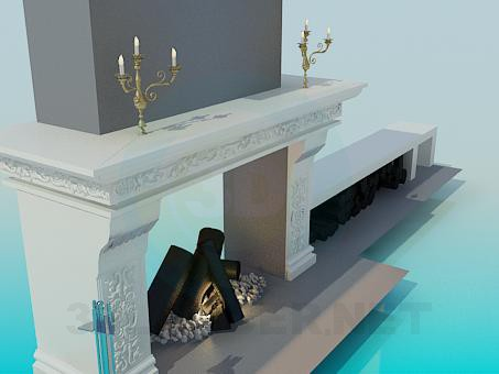 3d model Fireplace with an extension for firewood - preview