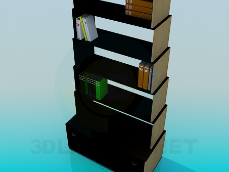 3d model Bookcase with books - preview