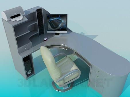 3d модель Угловой рабочий стол с креслом – превью