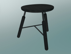 Norm stool (NA3, W 49xH 46cm, Black powder coated, Black oiled ash)
