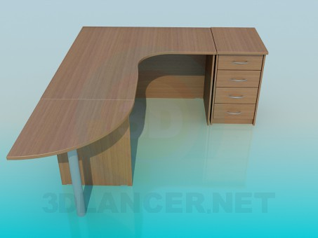 3d modeling Office desk corner model free download