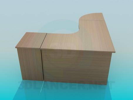modelo 3D Esquina del escritorio de oficina - escuchar