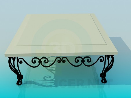 3d model Coffee table with wrought iron legs - preview