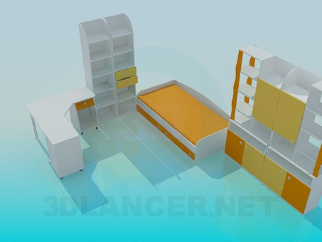 3d моделирование Комплект мебели в детскую модель скачать бесплатно