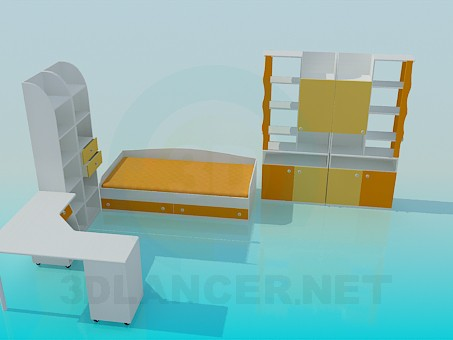 3d модель Комплект мебели в детскую – превью