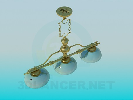 3d modeling Chandelier with ceramic ceiling paintings model free download