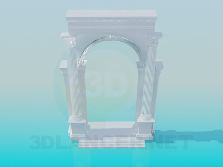 3d model Arch with columns - preview