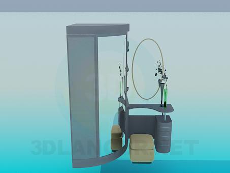 modelo 3D Armario y tocador - escuchar