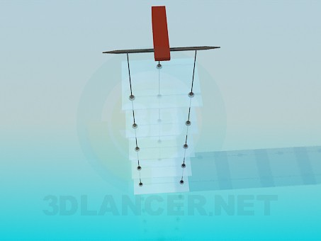 3d модель Підвісна етажерка зі скляними полицями – превью