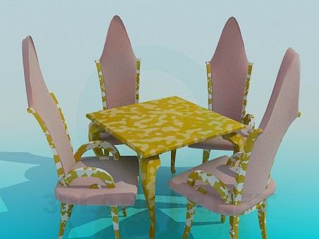 3d model Table, chairs and chandelier Kit - preview