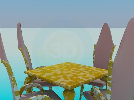 modelo 3D Mesa, sillas y lámpara Kit - escuchar