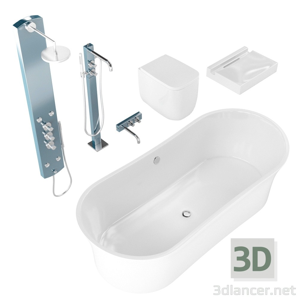 3d modeling Bathroom set model free download