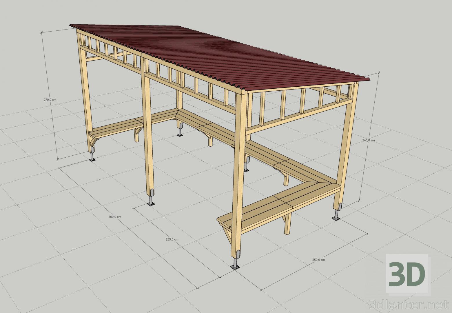 3d Gazebo - pergola model buy - render