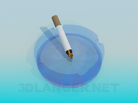 3d модель Пепельница с сигаретой – превью