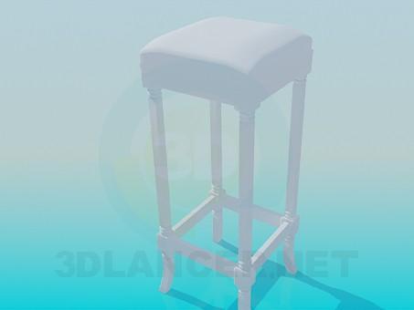 3d модель Високий м'який табурет – превью