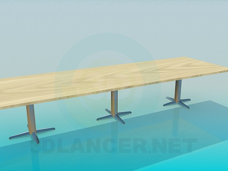 3d model Oblong table on three pillars - preview