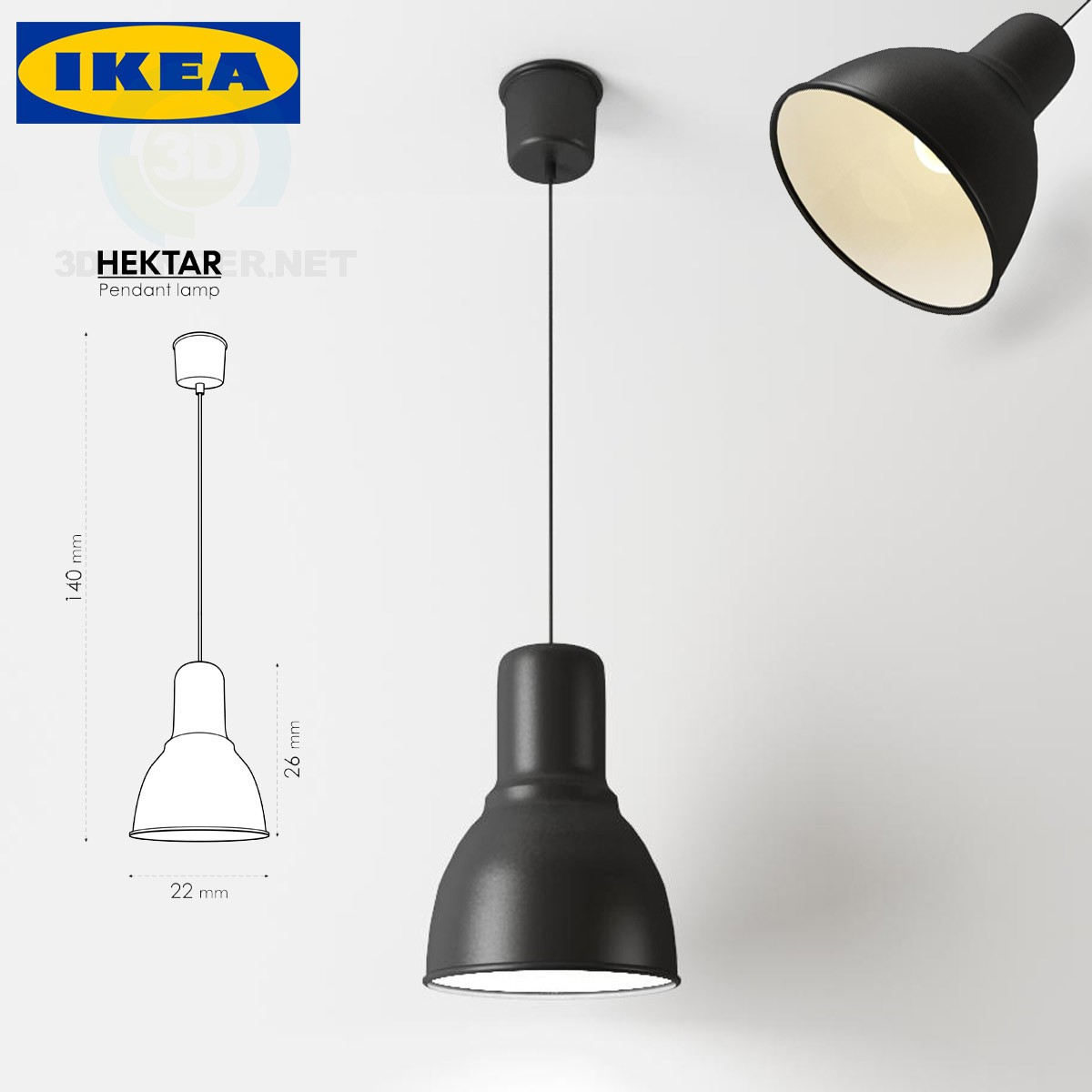 modelo 3D Lámpara HEKTAR_Pendant - escuchar