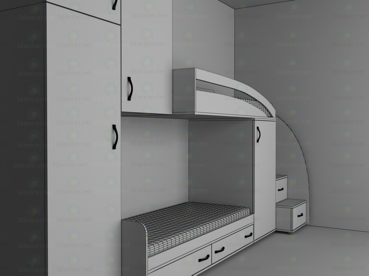 3d Furniture in a nursery model buy - render