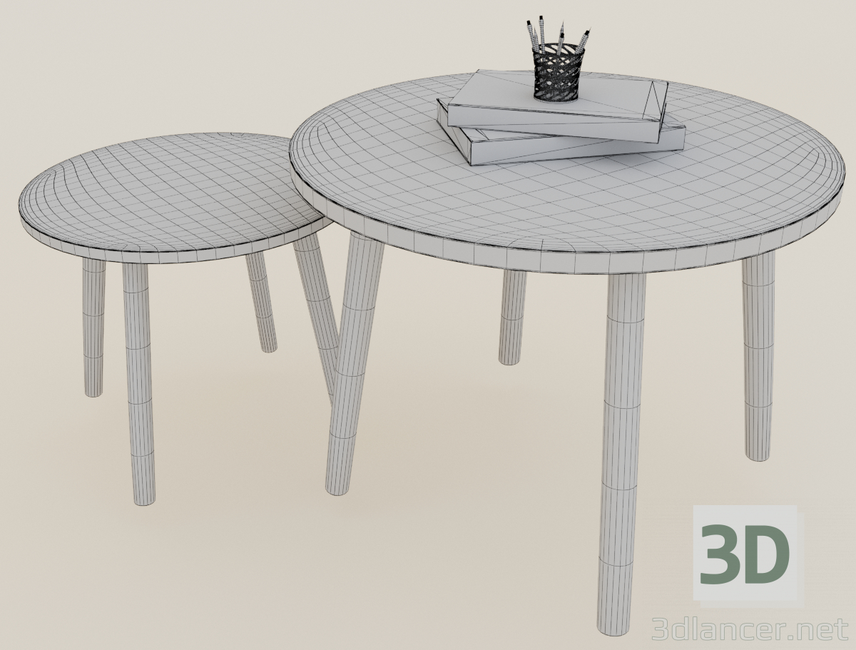 3d TV cabinet and tables model buy - render
