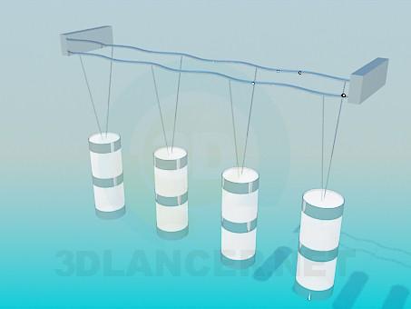 modelo 3D Lámpara con pinturas en el techo largo - escuchar
