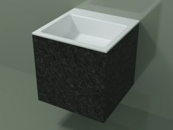 Wall-mounted washbasin (02R123302, Nero Assoluto M03, L 48, P 48, H 48 cm)