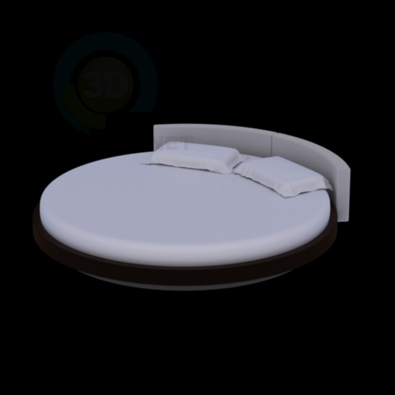 3d modeling round bed model free download