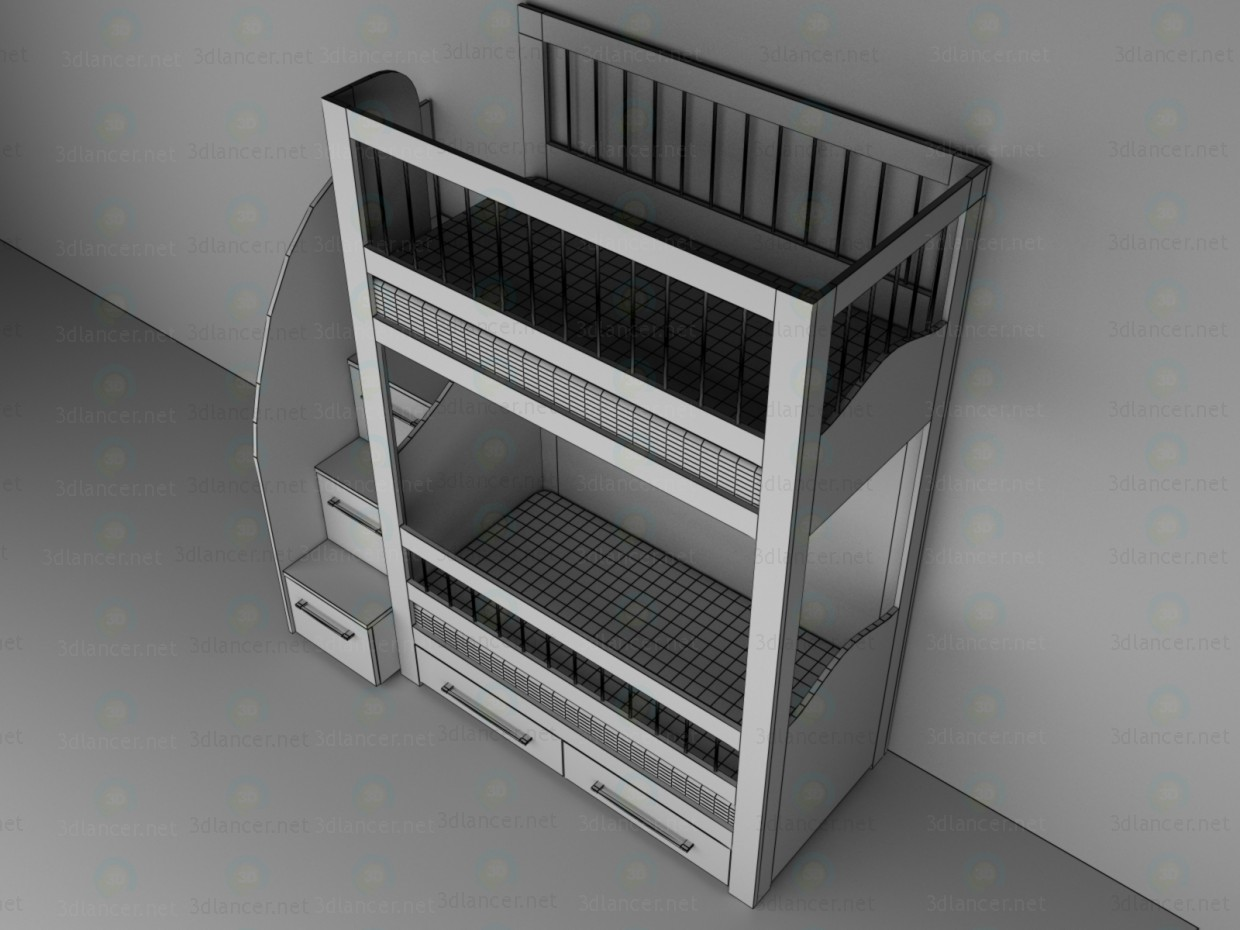 3d Children's bunk bed model buy - render