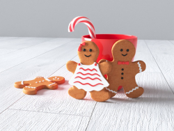 New year (cookies boy and girl, mug, candy)
