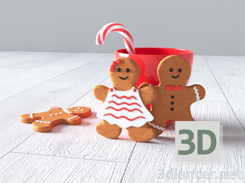 3d model New year (cookies boy and girl, mug, candy) - preview