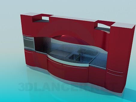 3d модель Симметричный кухонный гарнитур – превью