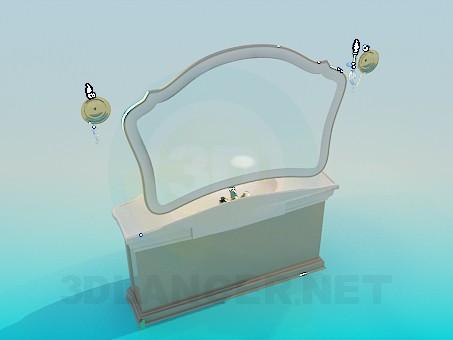 3d модель Умывальник с зеркалом – превью