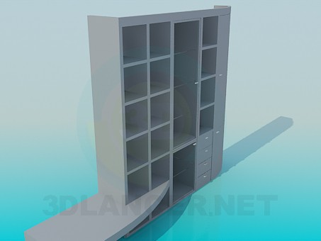 3d модель Шкаф-стенка с полочкой под ТВ – превью