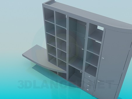 3d model Closet-wall shelf under TV - preview