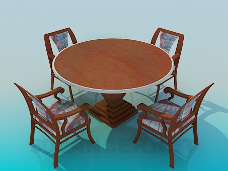 3d model Round table on a thick stalk with chairs in the complete set - preview