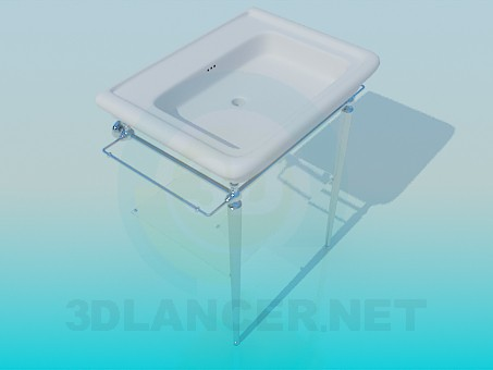 3d modeling Wash basin with heated towel/drying rack model free download