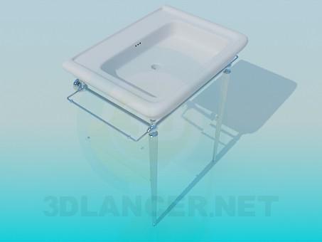 descarga gratuita de 3D modelado modelo Lavabo con calienta toallas/tendedero