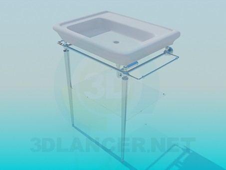3d model Wash basin with heated towel/drying rack - preview