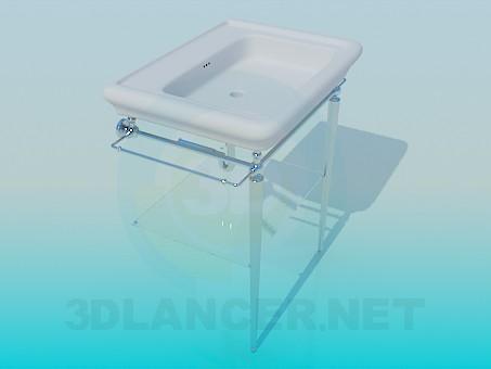 modelo 3D Lavabo con calienta toallas/tendedero - escuchar