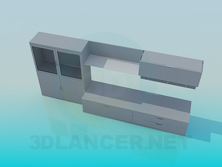3d modeling Closet, shelf, and bedside TV model free download