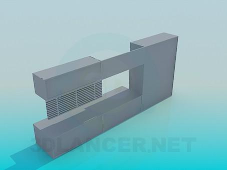 3d модель Шкаф, полка и тумба под телевизор – превью