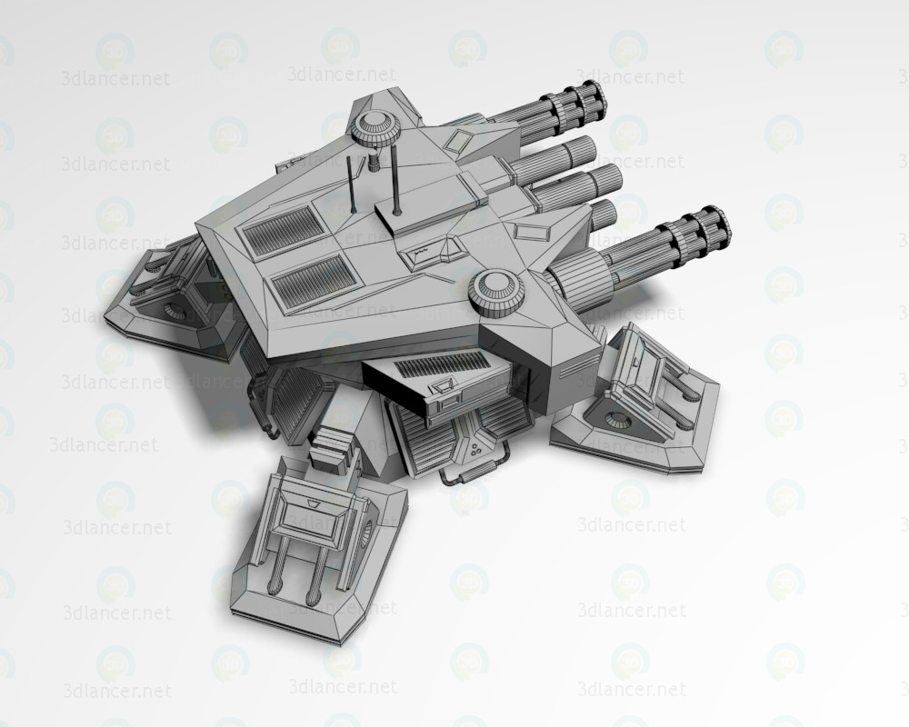 Pesada torreta defensiva 3D modelo Compro - render
