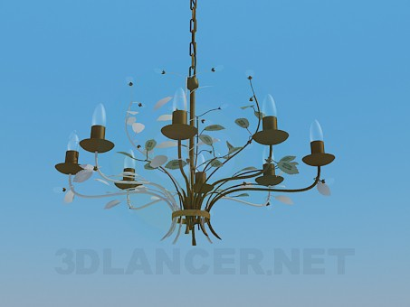 3d model Chandelier on chain - preview