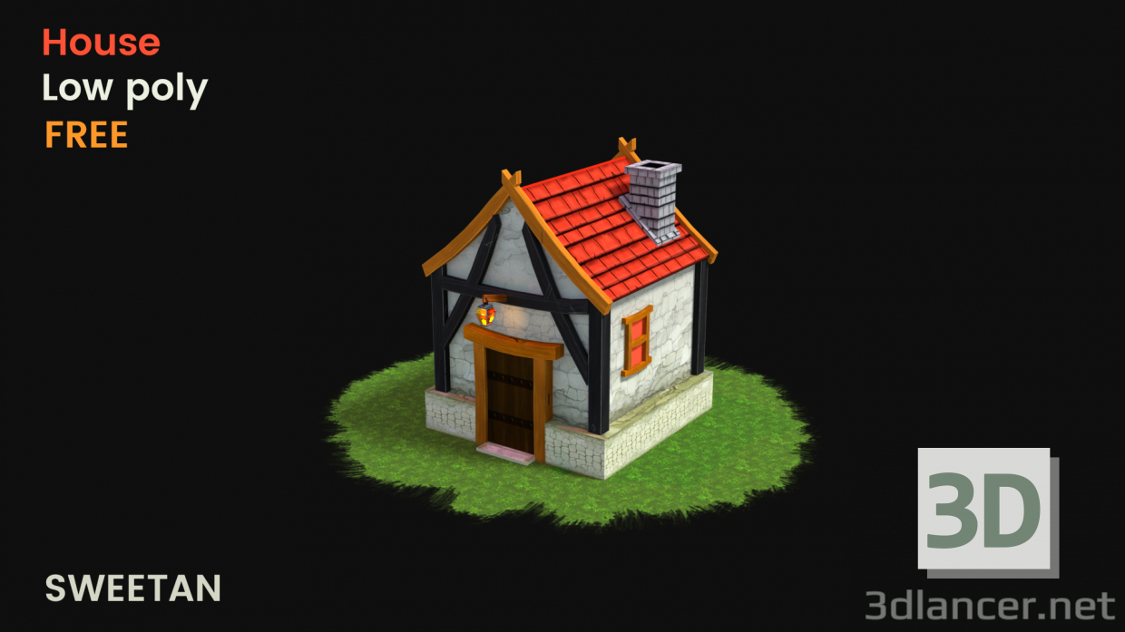 3d model 3d fantasy house game asset - low poly in the style of
