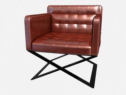 Кожаное кресло на перекрестных металлических ножках Respighi