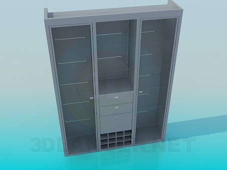 3d modeling Cabinet with glass shelves model free download