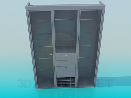 3d model Cabinet with glass shelves - preview