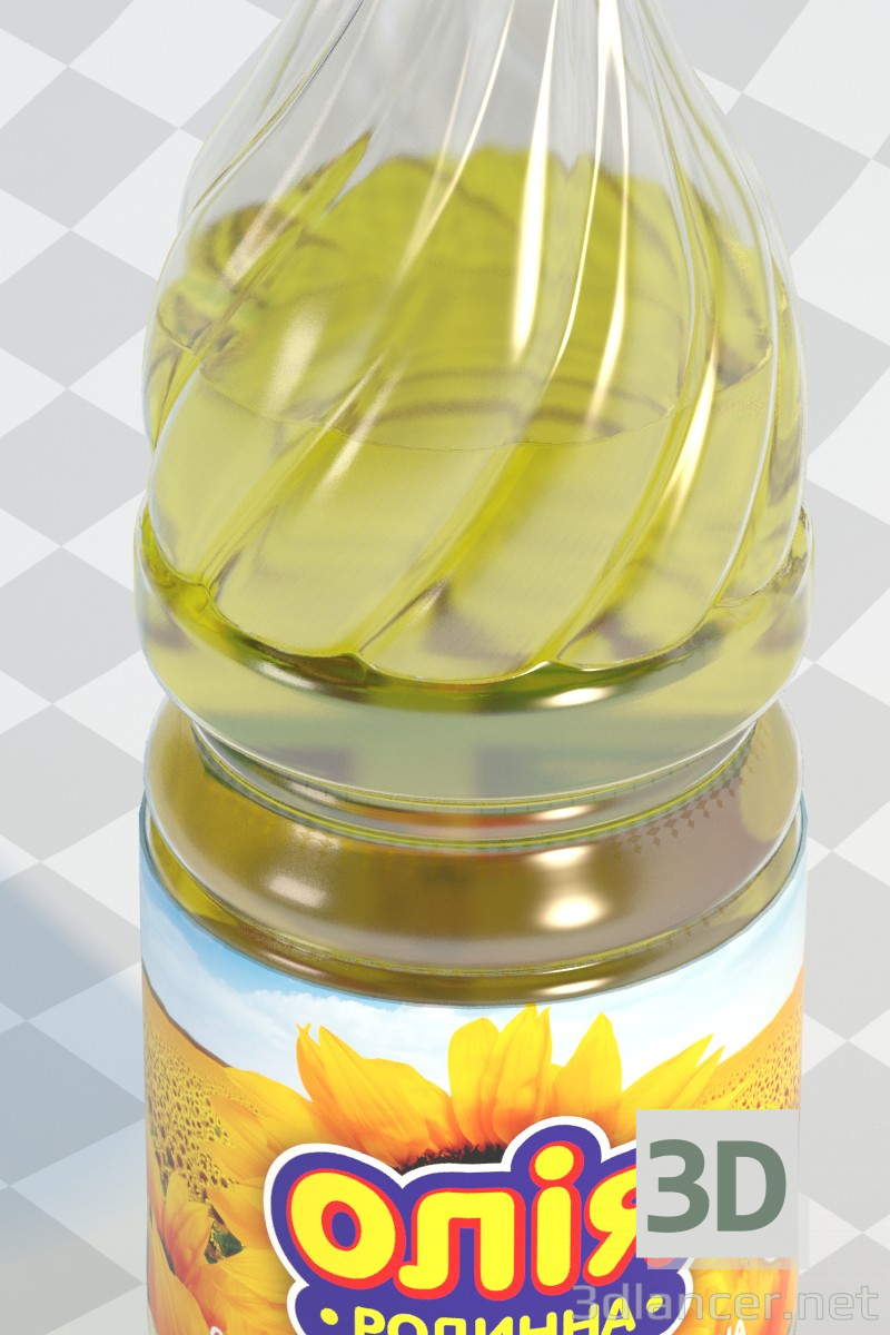 3d A bottle of oil model buy - render