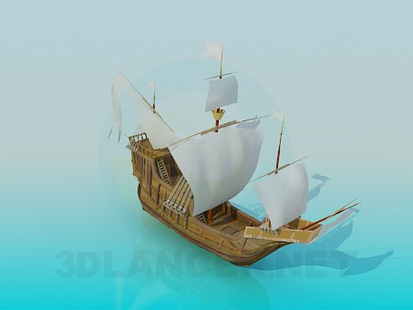 3d model Ship sailing - preview