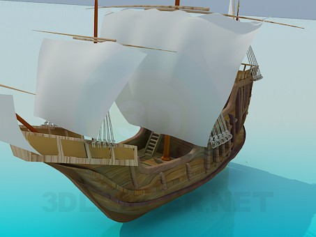 modelo 3D Barco vela - escuchar
