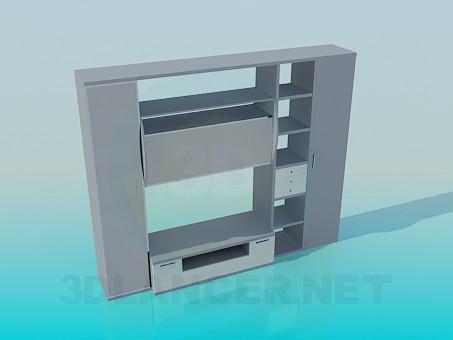 3d модель Мебель с полками под ТВ – превью